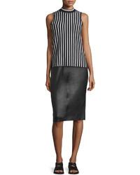 Rag & Bone Phoebe Lamb Leather Pencil Skirt Black