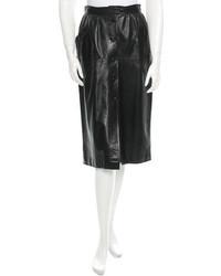 Saint Laurent Yves Vintage Leather Midi Skirt