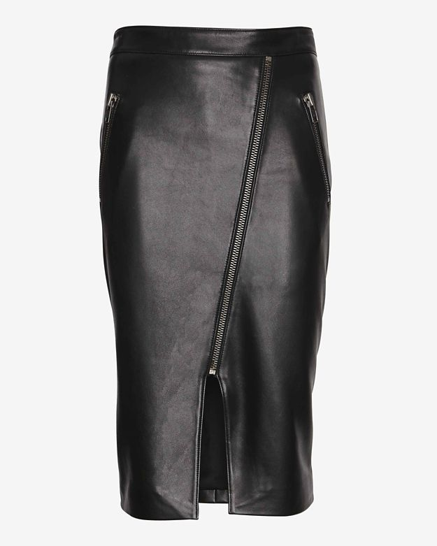deb1ca7d3c ... Black Leather Midi Skirts Mason by Michelle Mason Zippered Front Slit  Leather Pencil Skirt ...