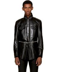 Alexander McQueen Black Leather Military Jacket
