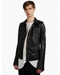 Rick Owens Black Leather Stooges Biker Jacket