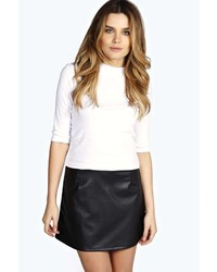 Boohoo Abi Faux Leather A Line Mini Skirt