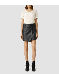 AllSaints Kenley Leather Mini Skirt