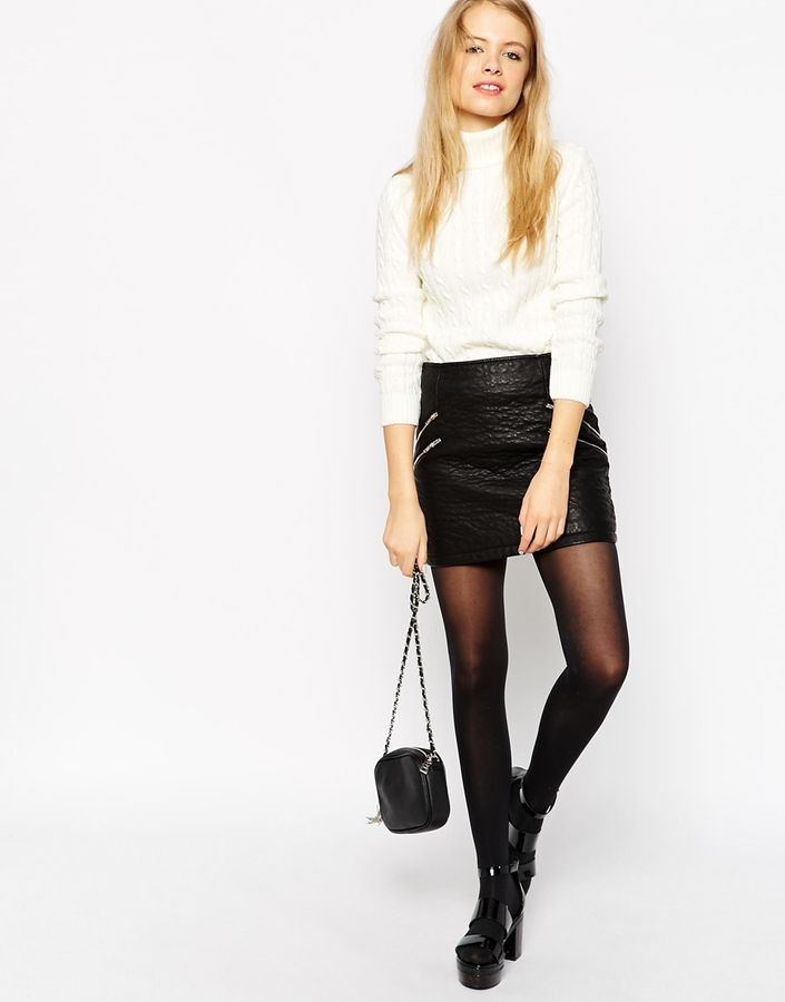 Asos Collection Mini Biker Skirt In Textured Leather Look With Zip ...