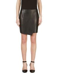Helmut Lang Black Leather Bonded Stilt Wrap Skirt