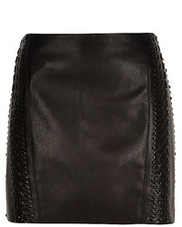 River Island Black Leather Look Whipstitch Pelmet Skirt