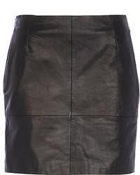 River Island Black Leather Mini Skirt
