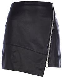 River Island Black Leather Wrap Mini Skirt
