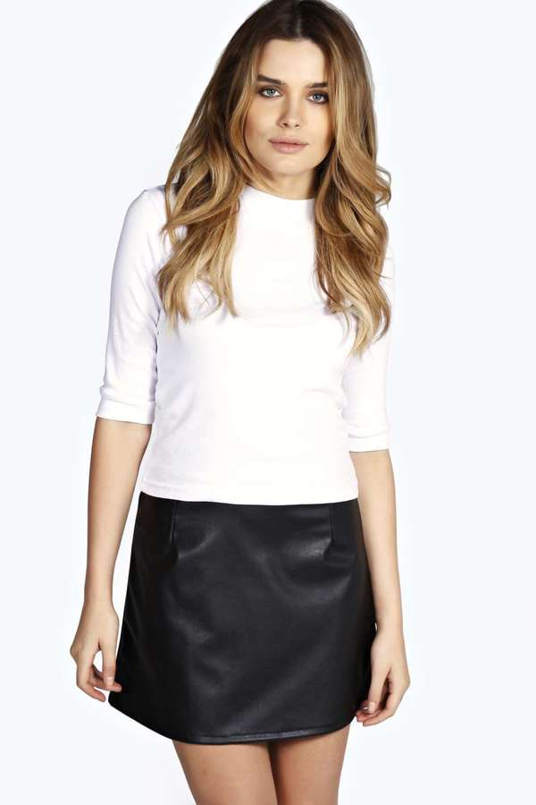 Boohoo Abi Faux Leather A Line Mini Skirt | Where to buy & how to wear