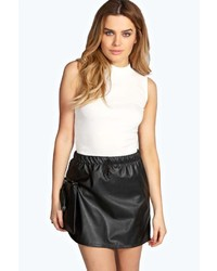 Boohoo Alice Faux Leather Elasticated Waist Mini Skirt