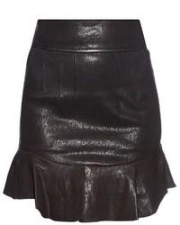 Isabel Marant Bray Ruffle Hem Leather Mini Skirt