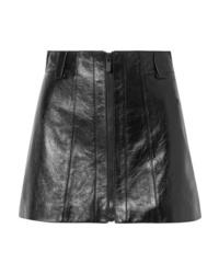 Miu Miu Crinkled Glossed Leather Mini Skirt