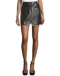Rachel Zoe Dan Leather Button Front Miniskirt