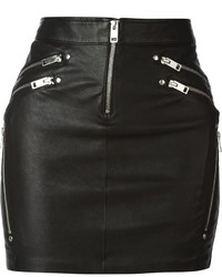 Diesel Yusra Leather Zips Mini Skirt
