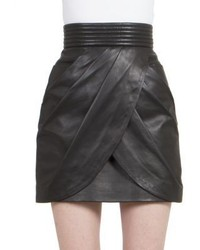 Balmain Draped Leather Mini Skirt