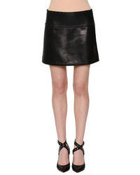 Valentino Embellished Leather Mini Skirt Black