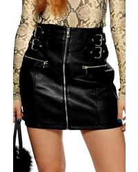 Topshop Faux Leather Zip Miniskirt