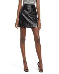 Leith Faux Patent Miniskirt
