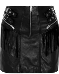 Saint Laurent Fringed Leather Mini Skirt Black