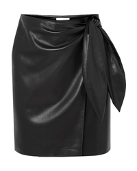 Nanushka Iowa Vegan Leather Wrap Mini Skirt