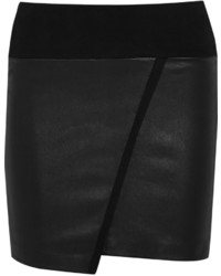 IRO Jalie Leather And Stretch Cotton Jersey Mini Skirt