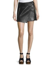 Etoile Isabel Marant Kakili Leather Wrap Front Mini Skirt Black