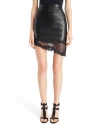 Balmain Lace Hem Lambskin Leather Miniskirt