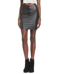 Missguided Lace Up Faux Leather Miniskirt