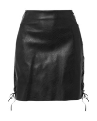 Stella McCartney Lace Up Faux Textured Leather Mini Skirt