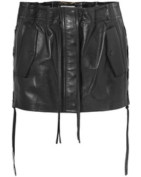 Saint Laurent Lace Up Leather Mini Skirt
