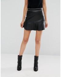 96fa389de8 Mango Leather Look Frill Hem Mini Skirt, $31 | Asos | Lookastic.com