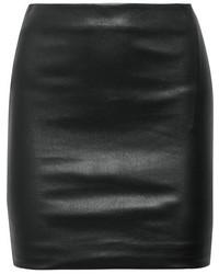 The Row Loattan Stretch Leather Mini Skirt Black