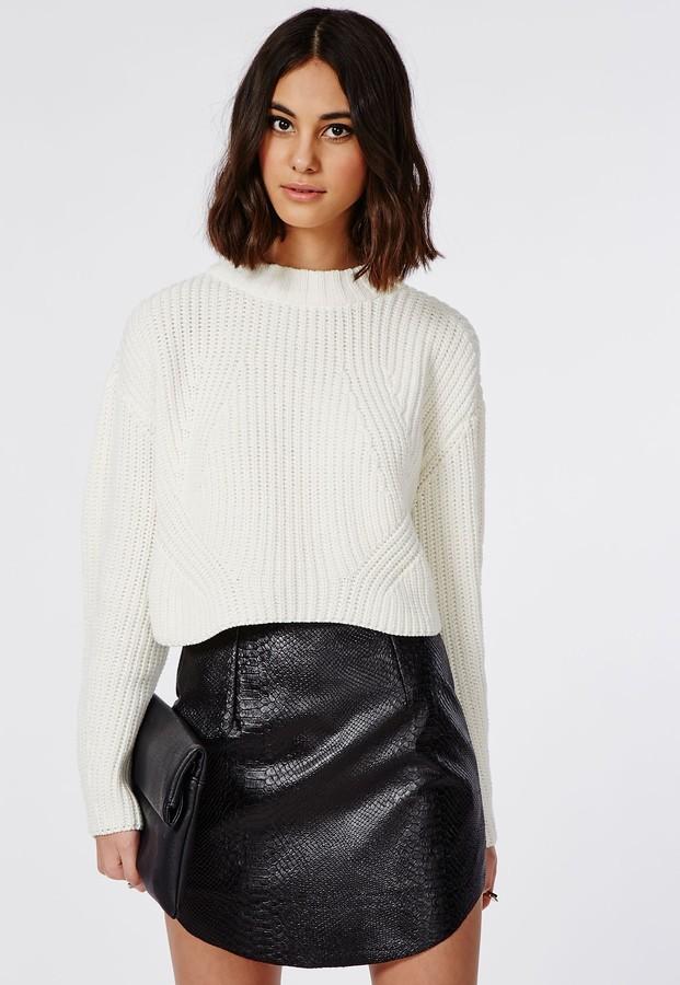 Missguided Hanah Snake Embossed Faux Leather Mini Skirt Black ...