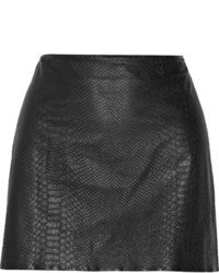 Alice + Olivia Neville Snake Effect Leather Mini Skirt