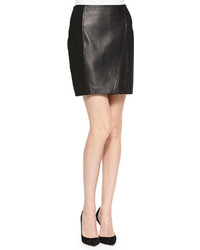 NM Exclusive Nm Lambskin Leather Ponte Skirt