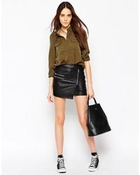 Noisy May Minda Pu Wrap Mini Skirt
