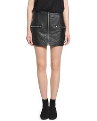 Mango Outlet Zip Leather Miniskirt