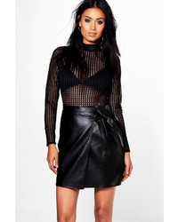 Boohoo Priya Tie Front Asymetric Leather Look Mini Skirt