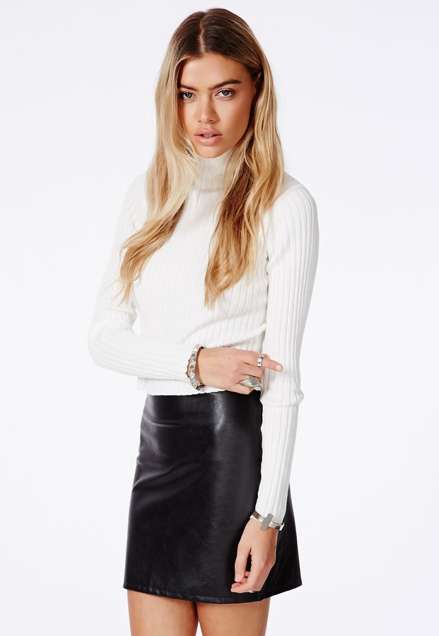 f1fab4fbe ... Black Leather Mini Skirts Missguided Ricafaux Leather Bodycon Mini Skirt  ...