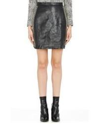 Saint Laurent Safety Pin Embellished Leather Miniskirt Black S