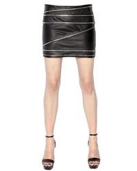 Saint Laurent Zipped Nappa Leather Mini Skirt