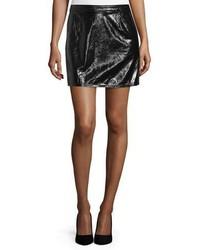 Frame Shiny Leather Mini Skirt Noir