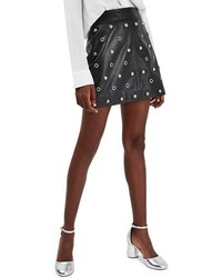 Topshop Stud Grommet Leather Miniskirt