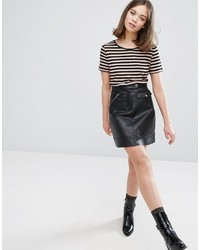 Monki Utility Faux Leather Mini Skirt