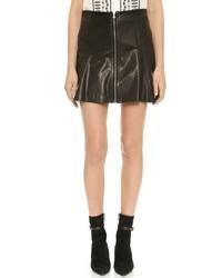 Veronica Beard Zip Leather Miniskirt