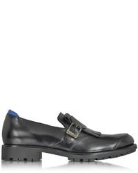 Hogan Black Leather Monk Strap Loafer