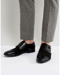 Asos Monk Shoes In Faux Black Leather