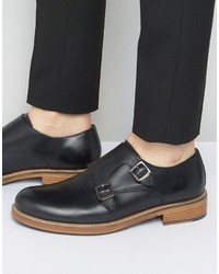 Ben Sherman Parc Monk Shoes In Black Leather