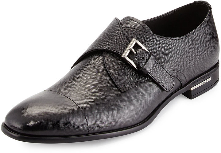 7feb079fc9 $750, Prada Saffiano Leather Single Monk Shoe Black