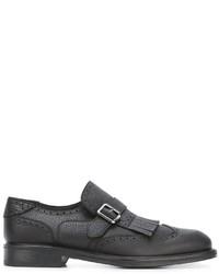 Salvatore Ferragamo Fringe Trim Brogue Monk Shoes